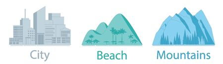 Travel concept - city, beach and mountains. Applicable as background or icons for travel design. Three detailed icons. Vector illustration.