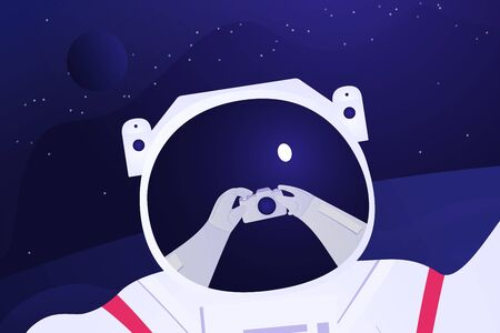 Astronaut taking selfie on the fantastic background. Spaceman travel around the unknown planet. On the helmet there is a mirror of his hands with photo camera. Future travel Vector illustration.