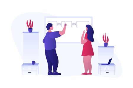 Manager explains how business process or project workflow works to coworker. Team lead is drawing on the board and educating to office worker how business process works. Flat vector illustration. Ilustração