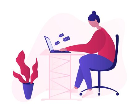 Millennial girl working sitting on the office chair at the table and working with laptop, getting social media messages. Freelance work at home, modern work style vector illustration.