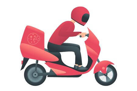 Courier on the red motorbike. Delivery service concept. Man delivers fast-food or pizza to the customer. Vector illustration