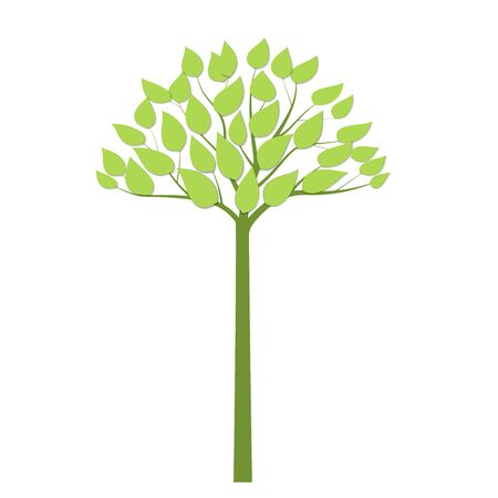 Simple green tree with green trunk. Eco concept