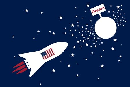 Space rocket with american flag as american dream symbol fly to the dream planet. American dream concept