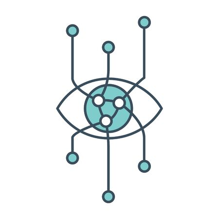 Eye icon with neural network inside. Applicable as part of artificial intelligence, machine learning design concept. Vector illustration.