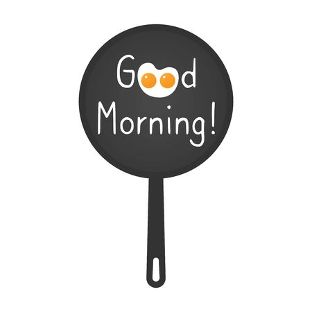 Frying pan with greeting words - Good Morning. Two Scrambled eggs form cartoon cute kitty or creature. Applicable as banner or breakfast menu design element for cafe, restaurant. Vector illustration