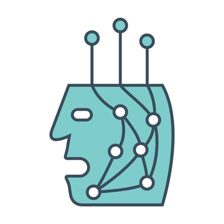 Human bot head icon with neural network inside. Applicable as part of artificial intelligence, machine learning design concept. Vector illustration.