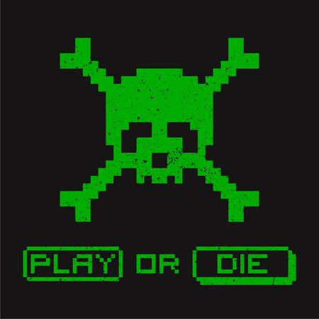 Retro computer game illustration with pixelated skull 写真素材 - 129966649