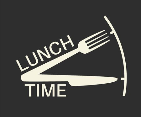Lunch time text with fork and knife.