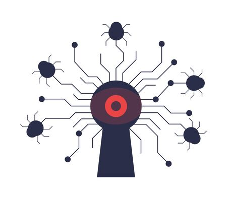 Cyber attack by malware. Red eye looks through the keyhole and infected bugs crawl to the software. Unprotected, unsafe system with software bugs or unplugged firewall. Stock Illustratie