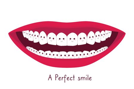 Wide shiny smile with white teeth as cartoon characters or emojis. A perfect smile print for t-shirts. Healthy and happy life concept. Flat vector illustration.