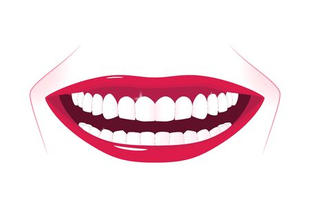 Female healthy teeth with wide smile. Oral hygiene illustration. Wide smile with super white teeth. Applicable as part of toothpaste packaging design or dental clinic banner. Vector illustration