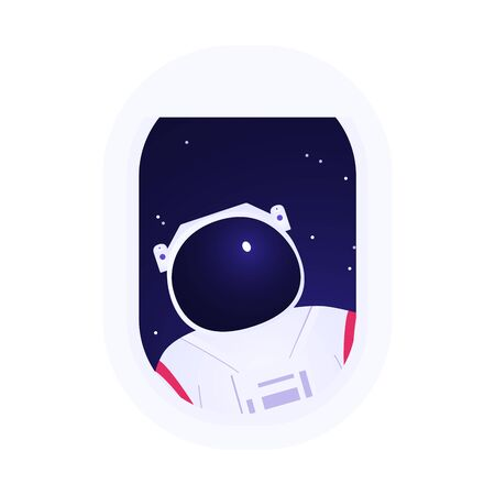 Astronaut looks to the airplane cabin through the porthole.