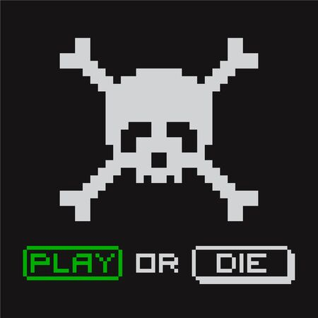 Pixel skull with crossbones propose to choose - Play or Die. Arcade computer game. Pixel art illustration for computer, video gamer. Applicable as print for t-shirt. Vector illustration.  イラスト・ベクター素材