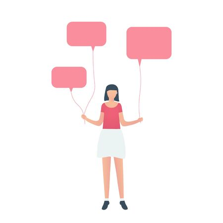 Young girl in skirt and t-shirt standing with speech bubbles as balloons. Communication, speak or protest concept. Vector illustration.