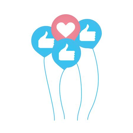 Four like icons with heart and thumbnails as balloons. Social network or social media concept. Likes gathered together in bunch. Vector illustration Ilustrace