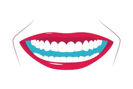Female healthy teeth with wide smile. Oral hygiene illustration. Applicable as part of toothpaste, brush packaging design or dental clinic banner. Vector illustration