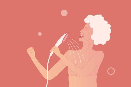 Young woman sing at the shower as pop diva. Happy and positive lifestyle at home. Body care illustration. Girl with wet skin and hair in shampoo. Vector illustration Иллюстрация