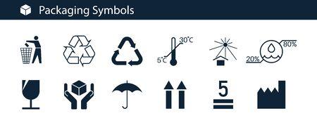 Verpackungssymbolsatz auf isoliertem Hintergrund. Verpackungssymbole - vorsichtig behandeln, Regenschirm, Recycling, Thermometer, zerbrechlich, Fahrtseite nach oben, Mobius-Schleife, ordentlicher Mann, Feuchtigkeit. Vektor-Illustration