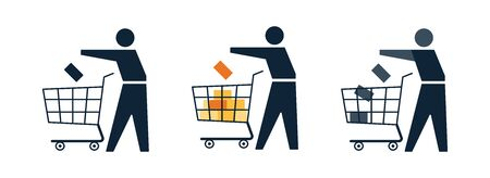 Shopper, customer with cart making shopping in the store, or shop online. Icon set with people in the market with cart. Part of online store web design. Supermarket sale. Vector illustration Illustration