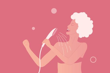 Young woman in bikini is singing at the shower as pop diva. Happy and positive lifestyle at home. Body care illustration. Girl with wet skin and hair in shampoo. Vector illustration