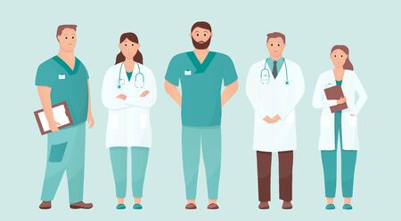 Five doctors standing tall. Medical care or urgent care concept. Friendly and caring doctors meet the patient. Applicable for clinic advertisement. Flat vector illustration on isolated background. Фото со стока - 130474871