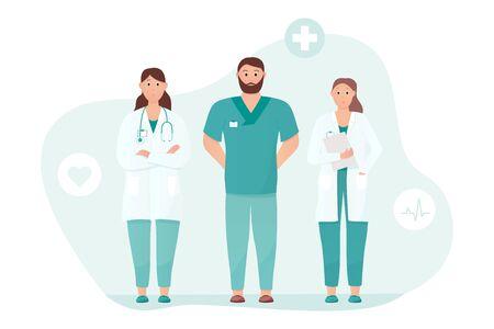 Drie artsen staan rechtop. Medische zorg of spoedeisende zorg concept. Vriendelijke en zorgzame artsen ontmoeten de patiënt. Van toepassing op reclame voor hartklinieken. Platte vectorillustratie.