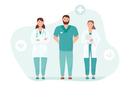 Three doctors standing tall. Medical care or urgent care concept. Friendly and caring doctors meet the patient. Applicable for heart clinic advertisement. Flat vector illustration.