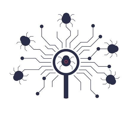 Antivirus software searching for viruses, malwares. Bug is founded using magnifying glass. Cyber security system. Software, network protection concept. Software bug search icon. Vector illustration. 向量圖像
