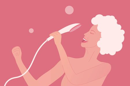 Young woman is singing at the shower as pop diva. Happy and positive lifestyle at home. Body care illustration. Girl with wet skin and hair in shampoo. Vector illustration Stock Illustratie