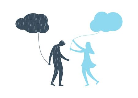 Young man with anxiety and depression holding dark cloud with rain. His girlfriend supports and helps him with mental illness, brings to him happy feellings with clean sky. Flat vector illustration. Ilustração