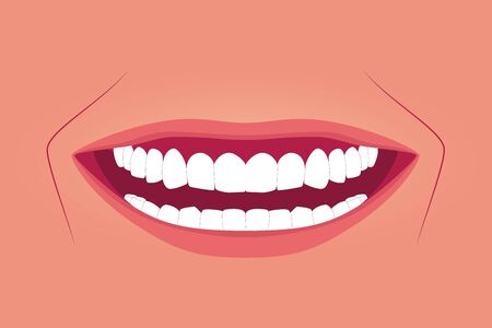 Female healthy teeth with wide smile. Oral hygiene illustration. Wide smile with super white teeth. True skin color background. Applicable as part of dental clinic banner. Vector illustration