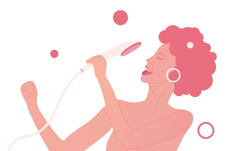 Young talent woman is singing at the shower as pop diva. Happy and positive lifestyle at home. Body care illustration. Girl sings jazz song. Flat vector illustration on isolated background