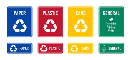 Recycling sings with waste products materials labels or stickers.