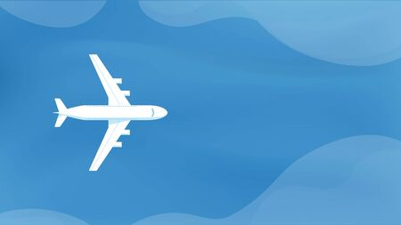 Passenger plane top view flying above the ocean or sea. Airplane top view with landscape. Travel tour concept. Commercial business trip by airplane illustration. Vector illustration Çizim