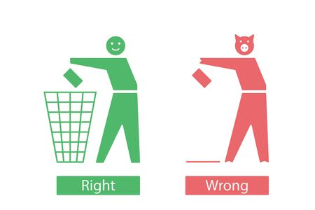 Icons with man and pig that throw away waste.