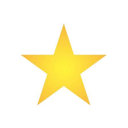 Simple five corners star. Yellow, golden color star shape. Award symbol. Flat vector illustration