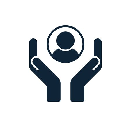 Customer care icon. Hands with customer inside. User technical support symbol. Client protection sign. User support department unit icon. Vector illustration