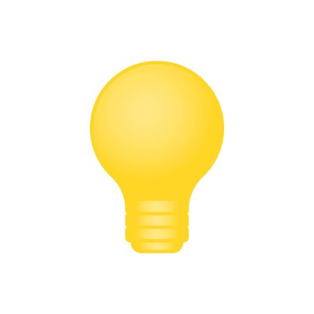 Realistic yellow icon on white isolated background. Light bulb symbol on isolated background. Electric energy symbol with light. Idea, creativity sign. Vector illustration
