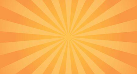 Sunburst light background with sun yellow ray. Abstract summer sun shine. Orange and yellow colors. Flat vector illustration