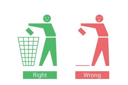 Icons with tidy man that throw away waste to the bin and sloppy person that drop garbage to the floor. Responsible and irresponsible attitude to the environment concept. Vector illustration.