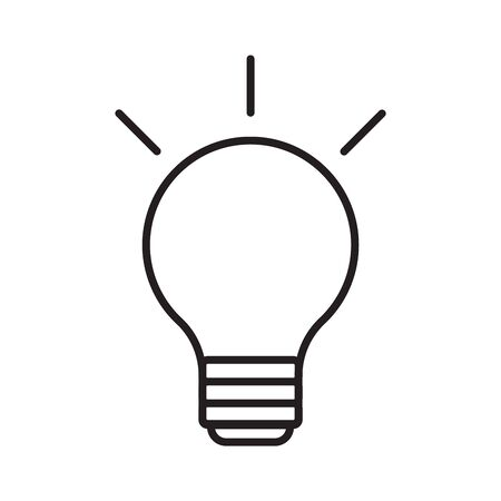 Line icon on white isolated background. Light bulb symbol on isolated background. Electric energy symbol with light. Idea, creativity sign. Vector illustration