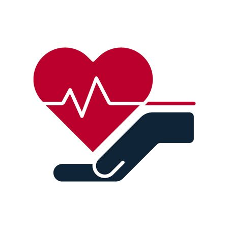 Hands and palms and heartbeat, pulse inside heart shapes. Health care, love, attention symbol. Human health medical support icons. Health care or protection of people signs. Vector illustration