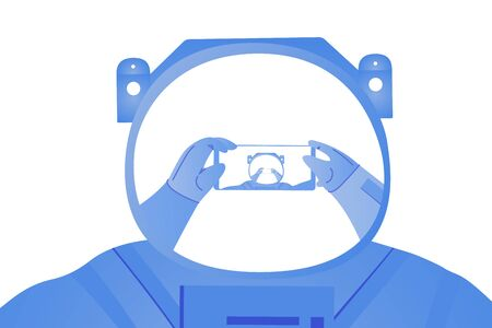Astronaut taking selfie on the white background. Space tourist travel in the space. On the helmet there is a mirror of his hands with phone. Travel vector illustration.