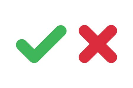 Check mark icons for web. Checkmark X symbols on white isolated background. Check mark signs in green and red colors. Yes no web buttons. Vector illustration