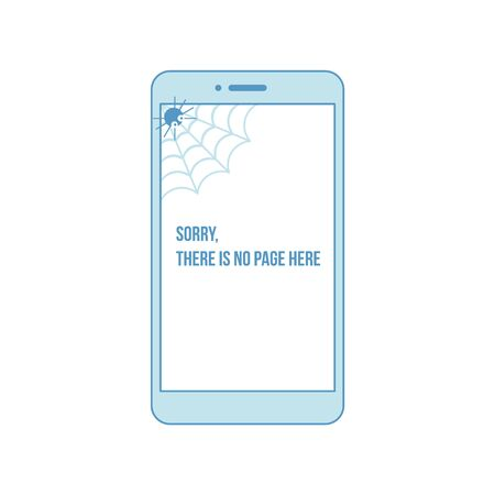 404 error page with funny spider inside phone display. Spider says - sorry, page not found. Page not found illustration. Connection loss, internet unavailable concept. Flat vector illustration