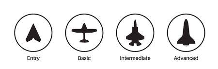 Icone del livello di competenza, competenza, abilità o esperienza. Aereo, sagome di aerei. Livelli di abilità lavorative. Percorso verso il successo o l'obiettivo. Simboli di base, medio avanzati, esperti. Illustrazione vettoriale piatta Vettoriali