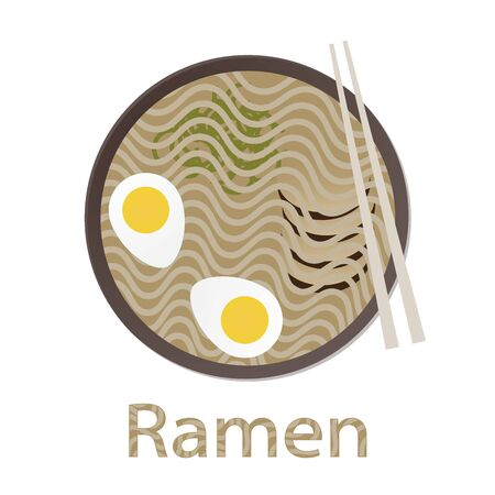 Ramen noodle fast food. Asian japanese, korean meal. Ramen noodle top view. Applicable for fast food advertisement, banners, signboards. Flat vector illustration.