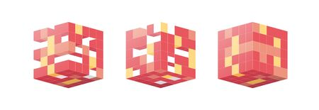 Red Cubes in isometric projection. White isolated background Geometric design pattern concept for banners, posters. Graphic design concept. Cube shape. lat vector illustration
