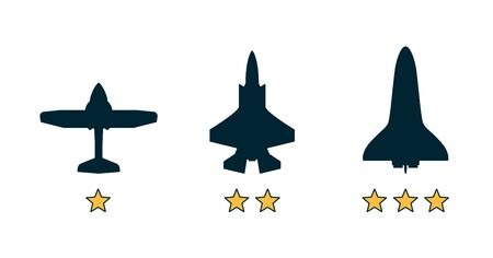 Experience level classification, grade category icons. Airplane, aircraft silhouettes. Job, work, education skills levels. Path to the success or goal. Flat vector illustration