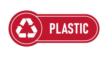 Recycling sings with waste products materials labels or stickers. Rounded form, colored labels. White recycling symbols. Flat vector illustration